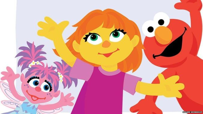 Abby, Julia and Elmo characters