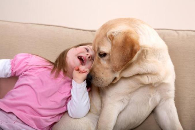young girl with dog