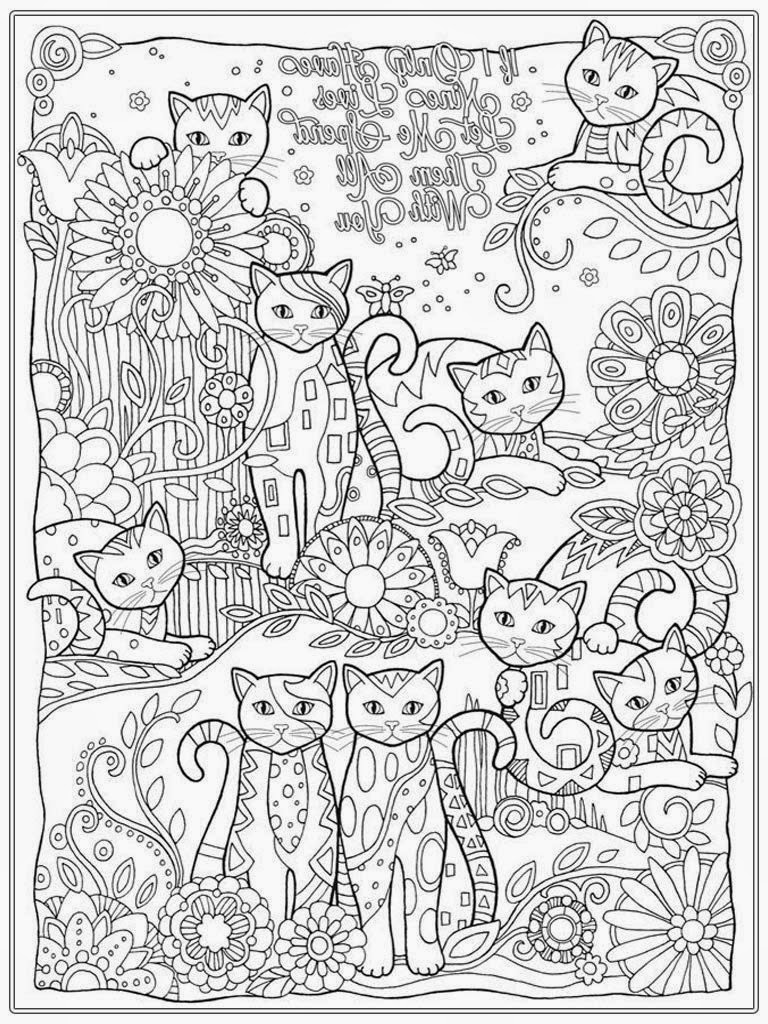 Stress coloring book for adults - Cat Coloring Pages For Adult Www