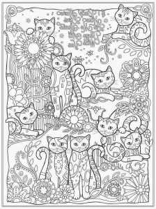 Cat Coloring Pages For Adult www.RealisticColoringPages.com
