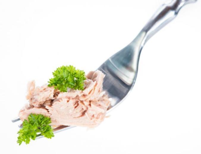 Tuna on a fork.