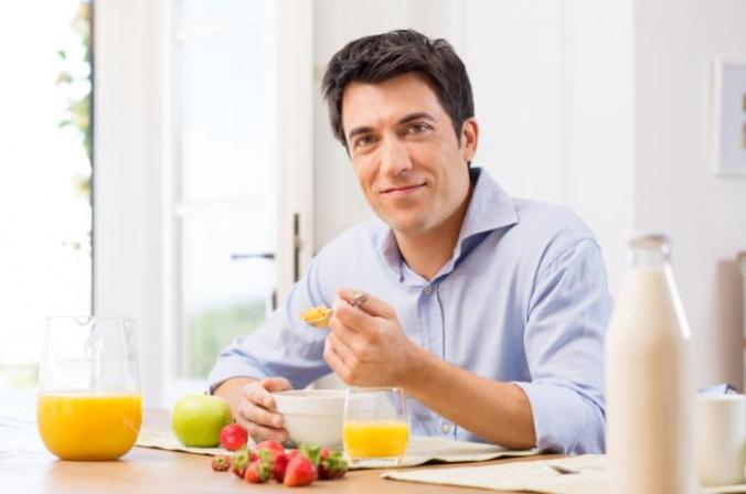 A man eating breakfast